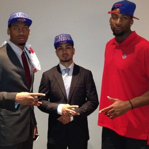 Siva with new teammates Andre Drummond and Tony Mitchell